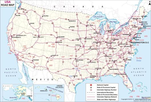 USA Road Map of my Travel To-Do List